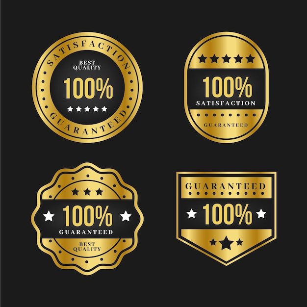 Coleção de etiqueta de luxo ouro 100% garantida Vetor grátis
