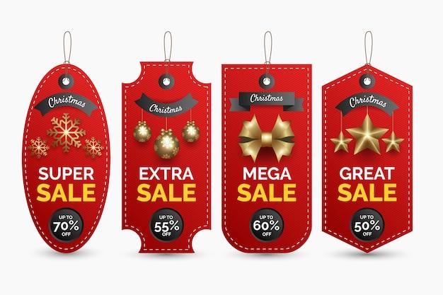 Coleção de etiqueta de venda de natal realista Vetor grátis