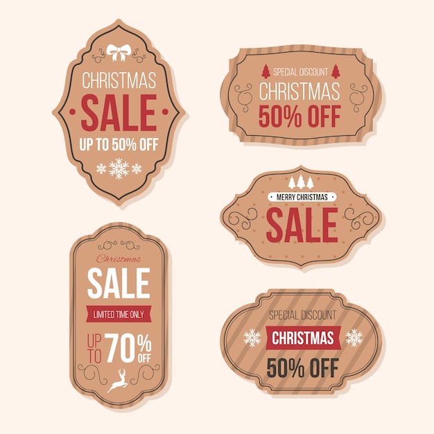 Coleção de etiqueta de venda de natal retrô Vetor grátis