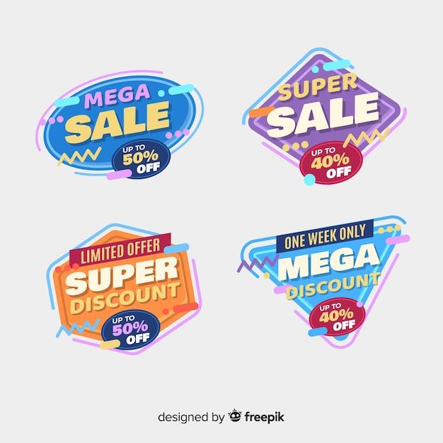 Coleção de etiqueta de venda design plano Vetor grátis