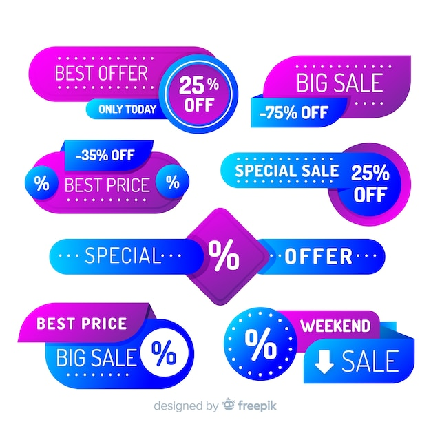 Coleção de etiqueta de venda gradiente Vetor grátis