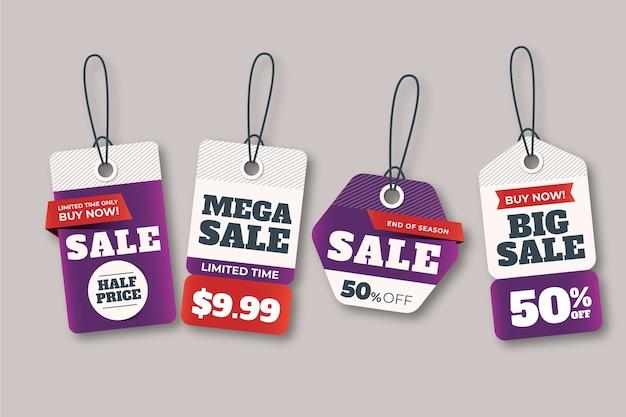 Coleção de etiqueta de vendas realista Vetor grátis