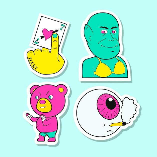 Coleção de etiqueta engraçada desenhada de mão Vetor grátis