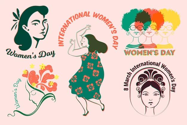 Coleção de etiquetas com tema de dia das mulheres Vetor grátis