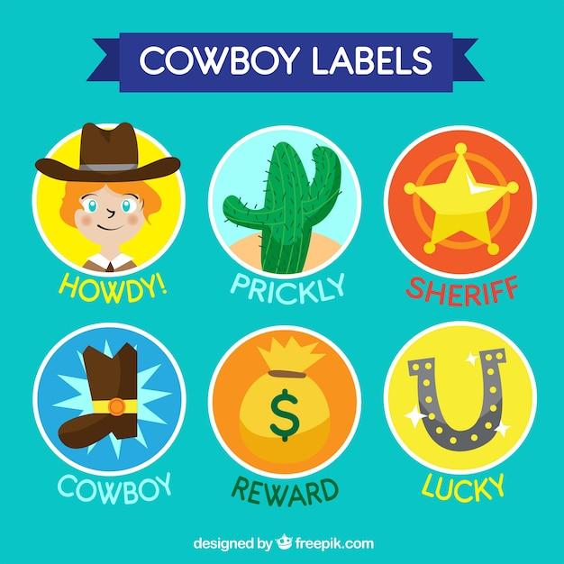 Coleção de etiquetas cowboy Vetor grátis