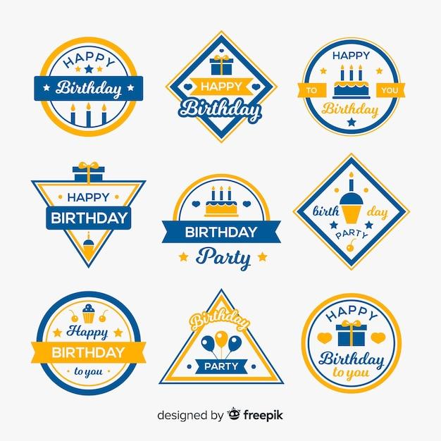 Coleção de etiquetas de aniversário Vetor grátis