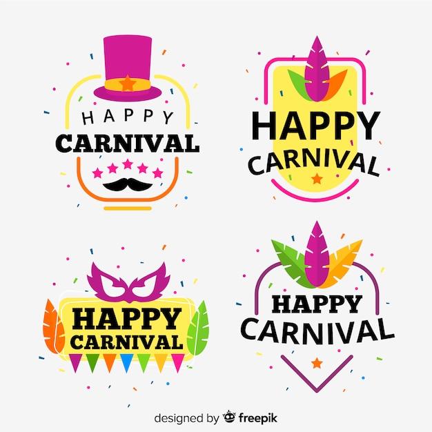 Coleção de etiquetas de carnaval Vetor grátis