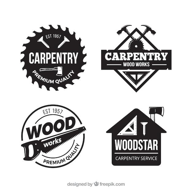 Coleção de etiquetas de carpintaria com estilo vintage Vetor grátis