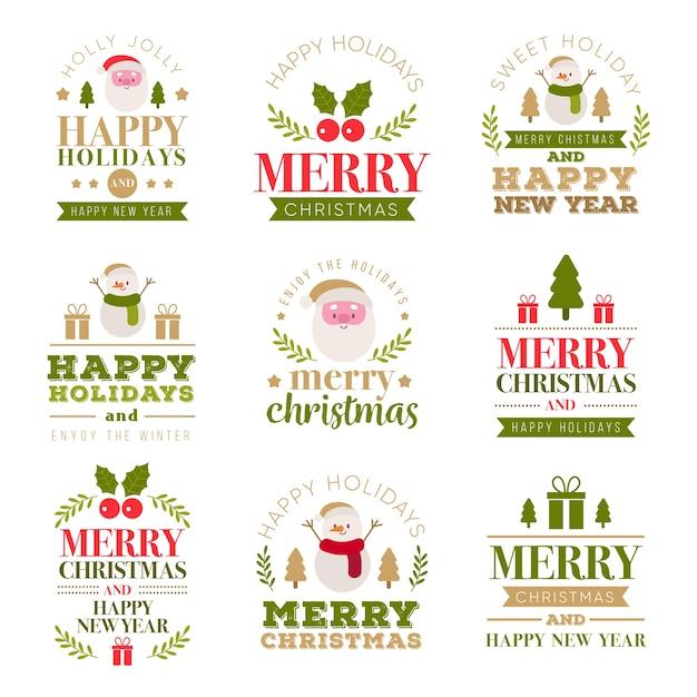 Coleção de etiquetas de letras de natal Vetor grátis