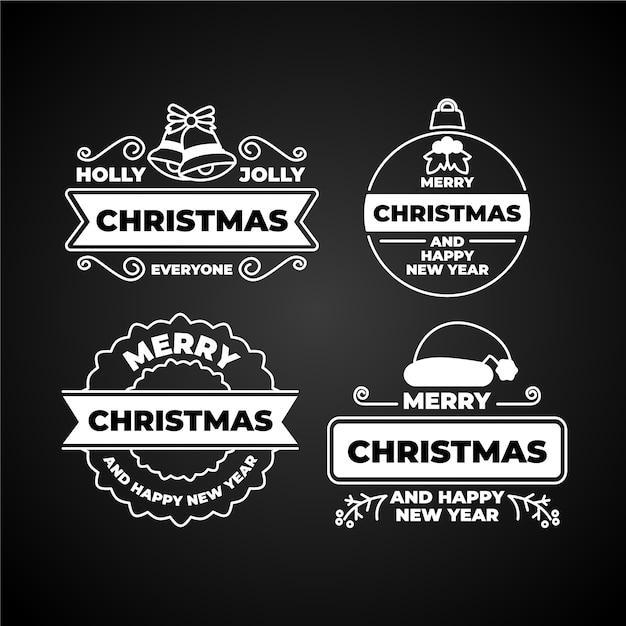 Coleção de etiquetas de natal no quadro-negro Vetor grátis