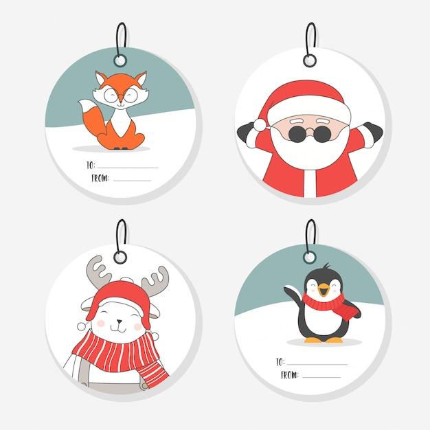 Coleção de etiquetas de natal. personagens planas fofos. Vetor Premium