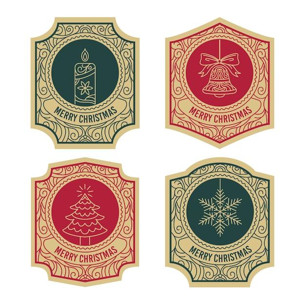 Coleção de etiquetas de natal vintage Vetor grátis