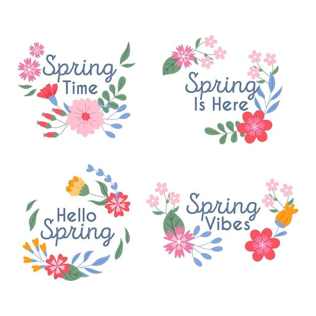 Coleção de etiquetas de primavera Vetor grátis