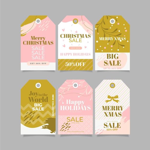 Coleção de etiquetas de venda de natal de design plano Vetor grátis