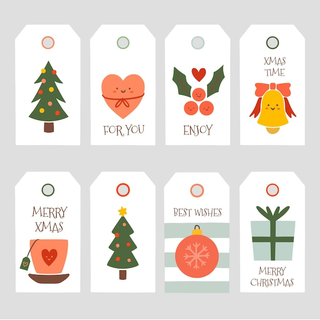 Coleção de etiquetas de venda de natal desenhada à mão Vetor grátis