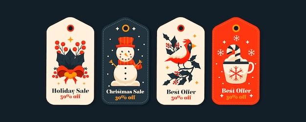 Coleção de etiquetas de venda de natal em design plano Vetor grátis