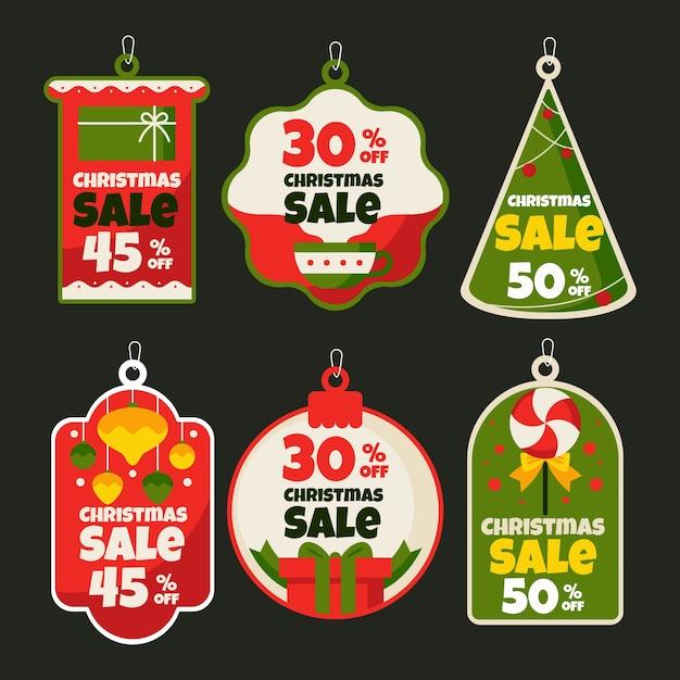 Coleção de etiquetas de venda de natal plana Vetor grátis