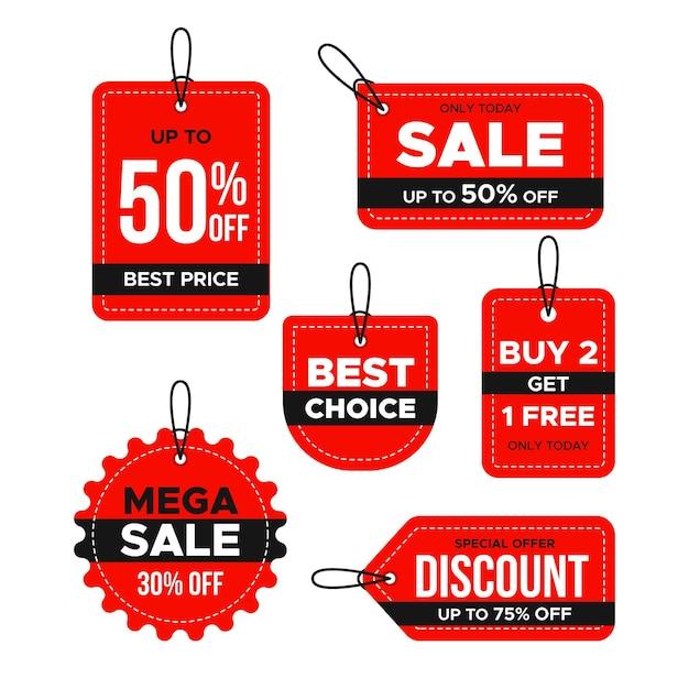 Coleção de etiquetas de vendas de design plano Vetor grátis