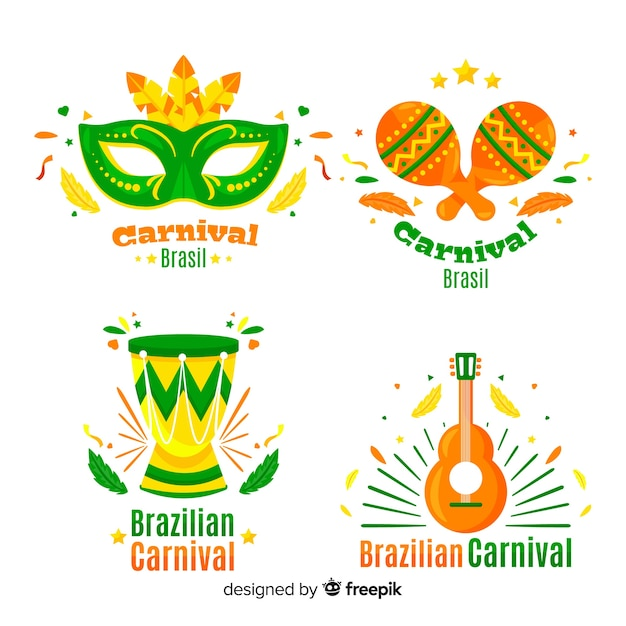 Coleção de etiquetas do carnaval brasileiro Vetor grátis