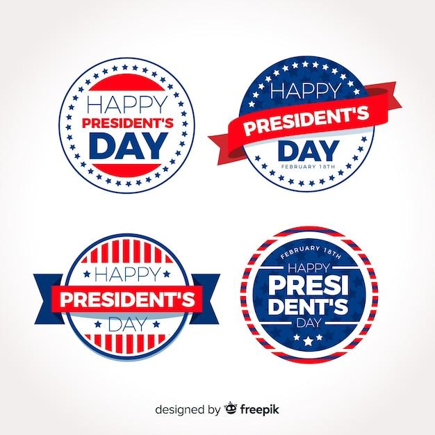 Coleção de etiquetas do dia do presidente Vetor Premium