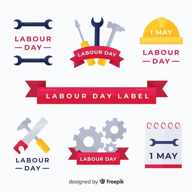 Coleção de etiquetas do dia do trabalho Vetor grátis
