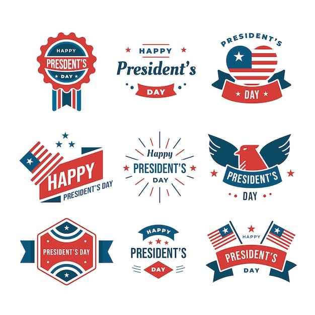 Coleção de etiquetas do dia dos presidentes Vetor grátis