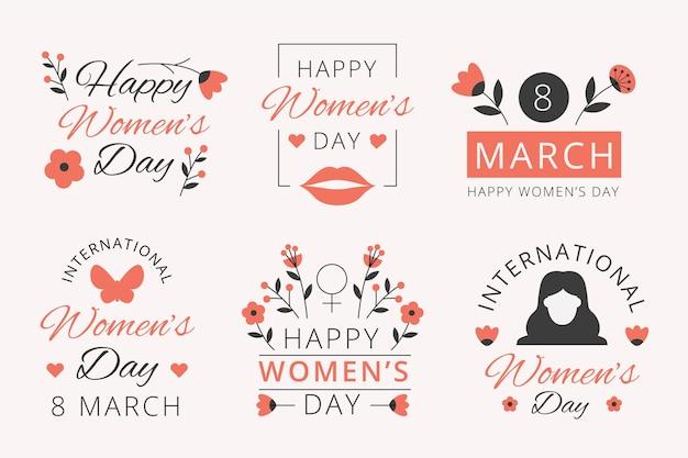 Coleção de etiquetas do dia internacional da mulher com design plano Vetor grátis