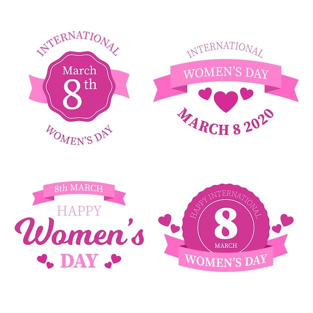 Coleção de etiquetas do dia internacional da mulher Vetor grátis
