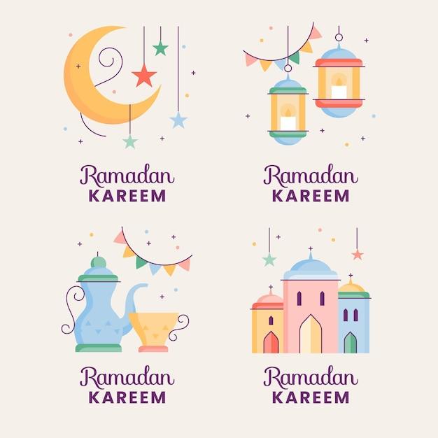 Coleção de etiquetas do ramadã desenhada à mão Vetor Premium