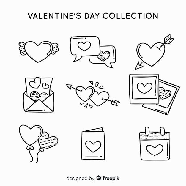 Coleção de etiquetas dos namorados Vetor grátis