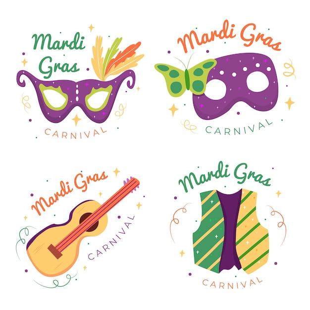 Coleção de etiquetas mardi gras de máscaras e guitarras Vetor grátis