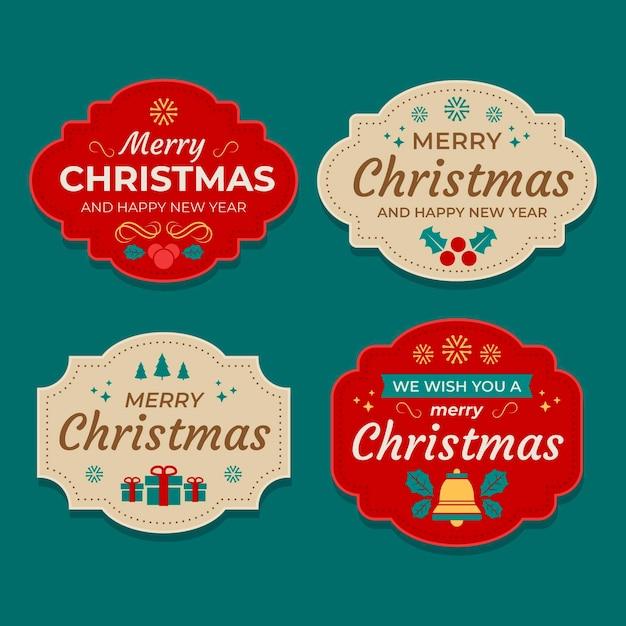 Coleção de etiquetas planas de natal Vetor grátis