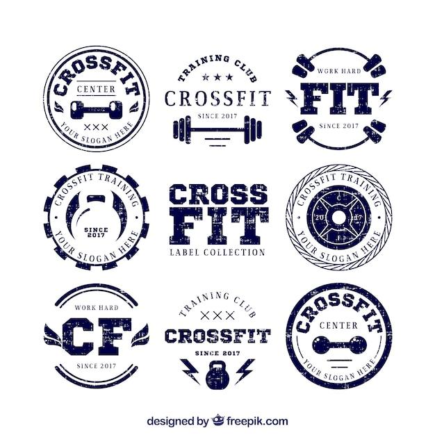 Coleção de etiquetas retros do crossfit Vetor grátis
