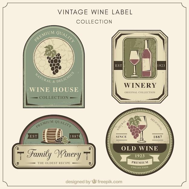 Coleção de etiquetas retros do vinho Vetor grátis