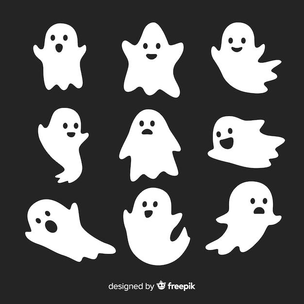 Coleção de fantasmas de halloween bonito em poses diferentes Vetor grátis