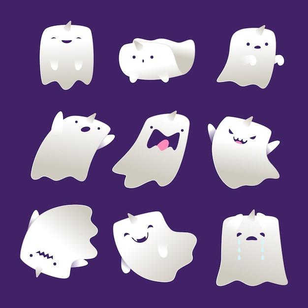 Coleção de fantasmas de halloween de design plano Vetor grátis