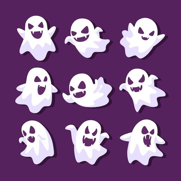 Coleção de fantasmas de halloween de design plano Vetor Premium