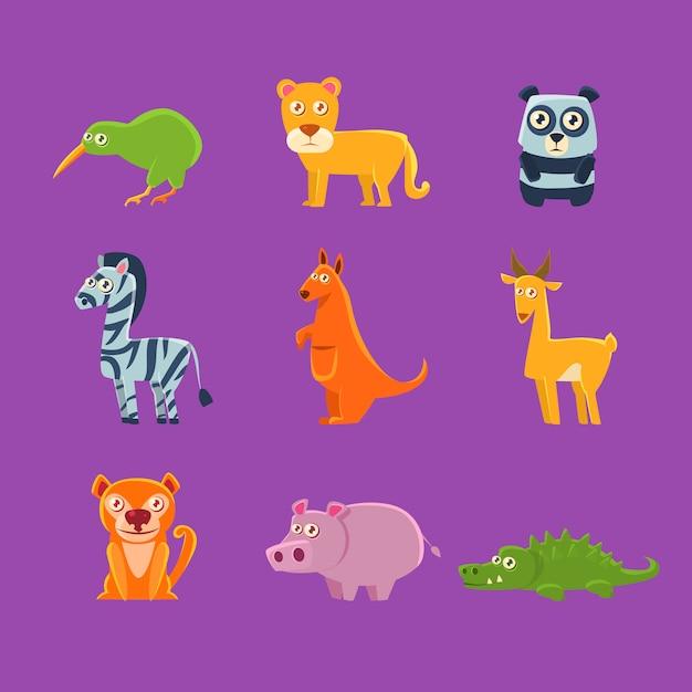 Coleção de fauna exótica de animais Vetor Premium