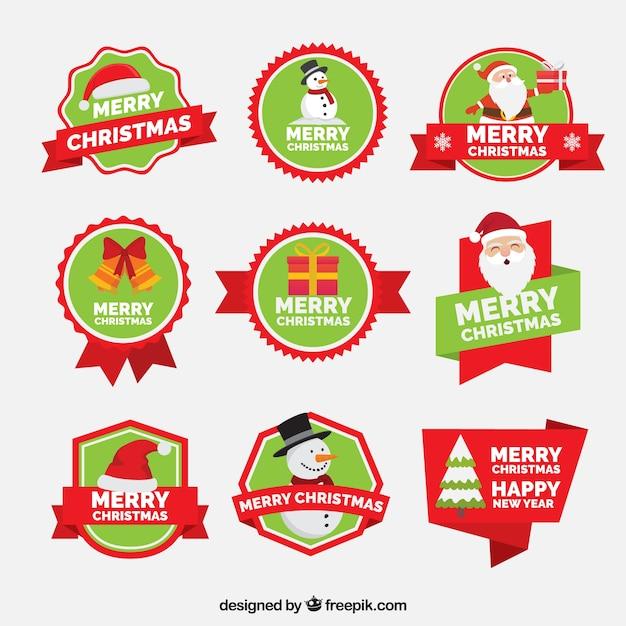 Coleção De Feliz Natal E Ano Novo Etiqueta Baixar Vetores Grátis