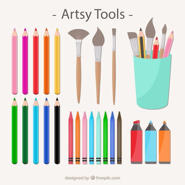 Coleção de ferramentas artsy Vetor Premium