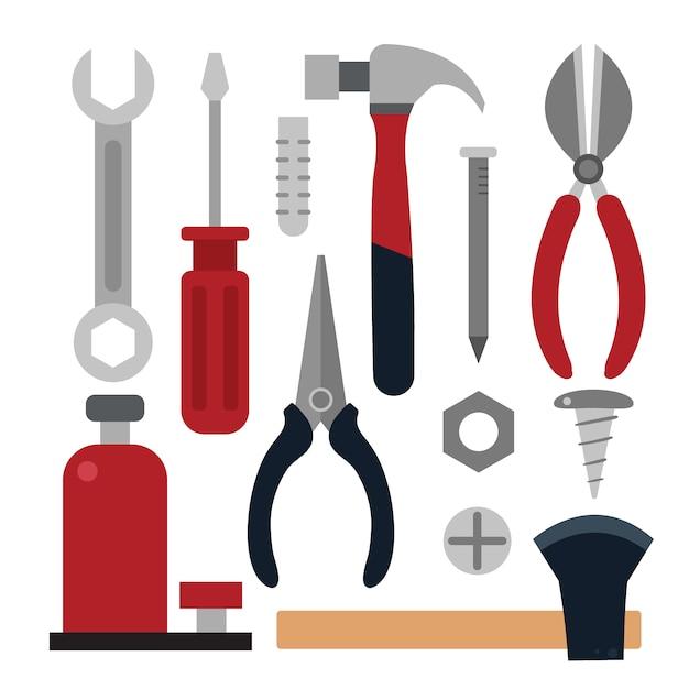 Coleção de ferramentas de carpintaria Vetor grátis