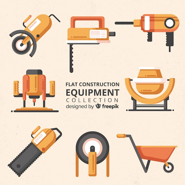 Coleção de ferramentas de construção plana Vetor grátis