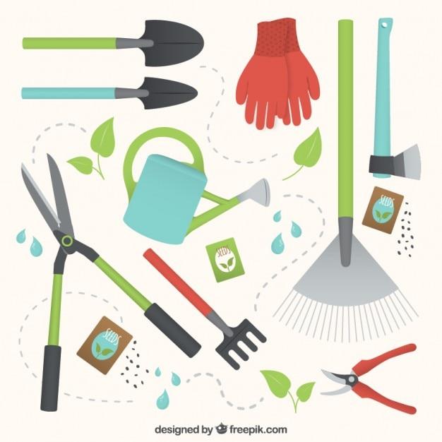 Coleção de ferramentas de jardinagem úteis Vetor grátis