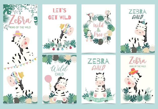 Coleção de festa de zebra Vetor Premium