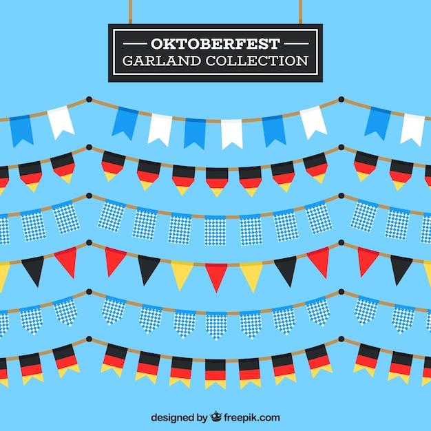 Coleção de festão oktoberfest em design plano Vetor grátis