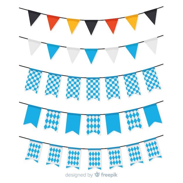 Coleção de festão plana oktoberfest com formas azuis Vetor grátis