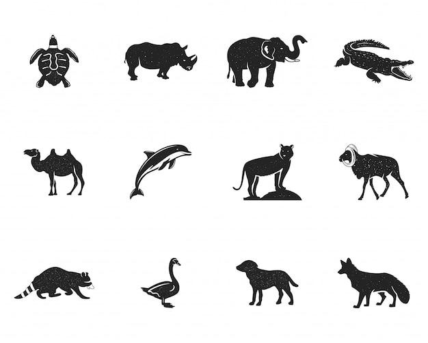 Coleção de figuras e formas de animais selvagens isolada Vetor Premium