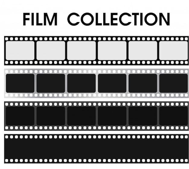 Coleção de filme preto e branco retrô vector. Vetor Premium