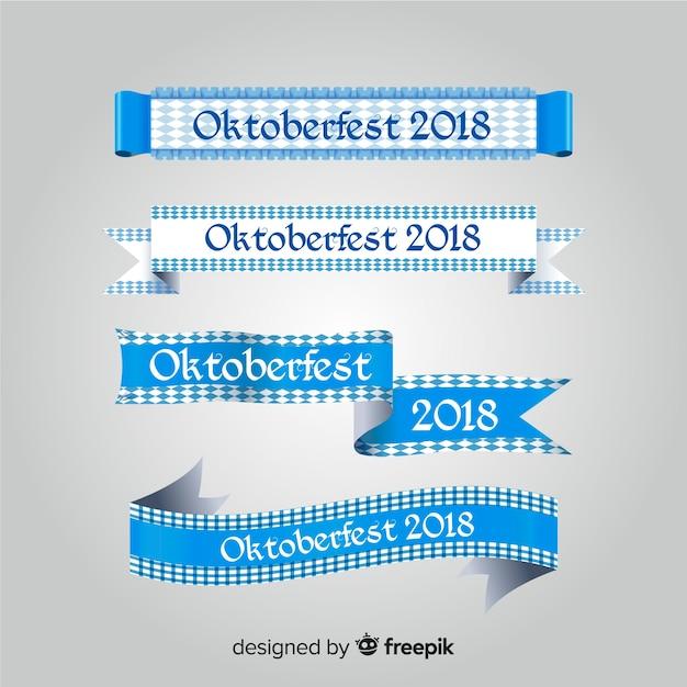 Coleção de fita clássica oktoberfest com design plano Vetor grátis