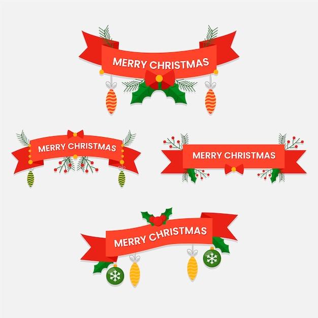 Coleção de fita de natal em design plano Vetor grátis